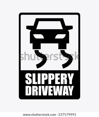 slippery driveway - stock vector