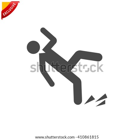 slippery floor icon, vector wet floor sign, isolated slip and fall symbol - stock vector