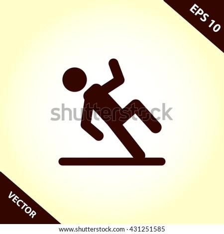 slippery floor icon. wet floor sign vector illustration - stock vector