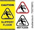 Slippery floor surface warning sign. Vector illustration. No gradients used. - stock