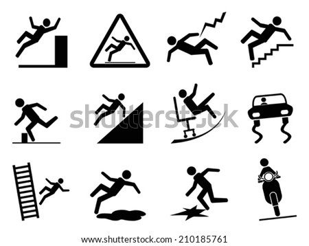 slippery icons - stock vector