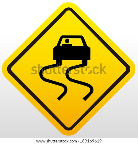 Slippery road sign - stock vector