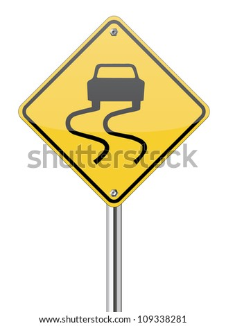 slippery road sign on yellow traffic label - stock vector
