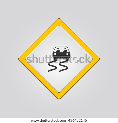slippery road sign. warning. icon - stock vector