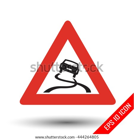 Slippery road traffic sign. Vector illustration of triangular sign for slippery road sign isolated on white background. - stock vector
