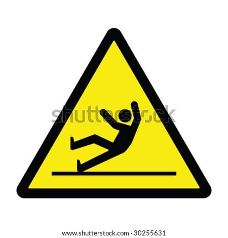 Slippery Surface Hazard Sign - stock vector