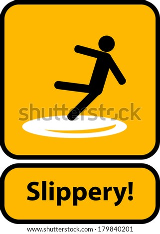 slippery surface sign vector - stock vector