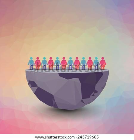 slit globe with people, polygonal illustration - stock vector