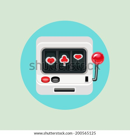 slot machine flat design - stock vector