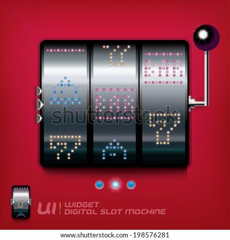 Slot Machine Illustration, Sign, Buttons, Symbol, Emblem, Logo for Web Design, User Interface, Mobile Phone, Baby, Children, People - stock vector