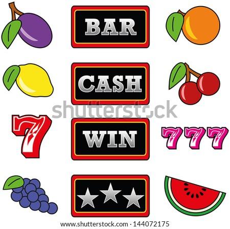Slot Machine Symbols - stock vector