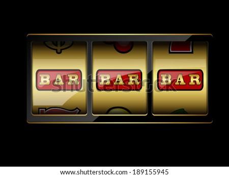 Slot machine symbols on black background. Three bar signs. Vector illustration - stock vector