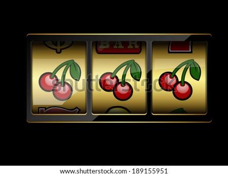 Slot machine symbols on black background. Three cherries. Vector illustration - stock vector