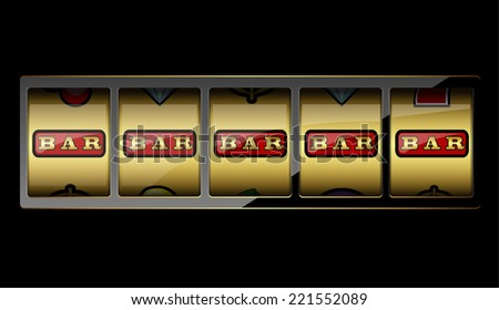 Slot machine symbols on black background. Vector illustration