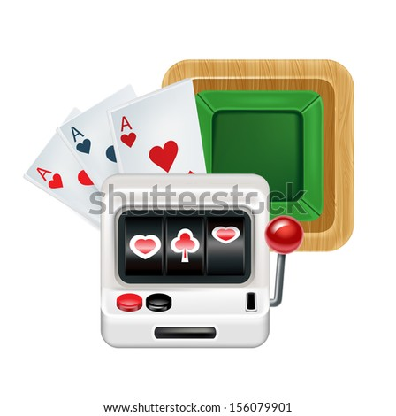 slot machine with cards and playing table isolated on white background - stock vector