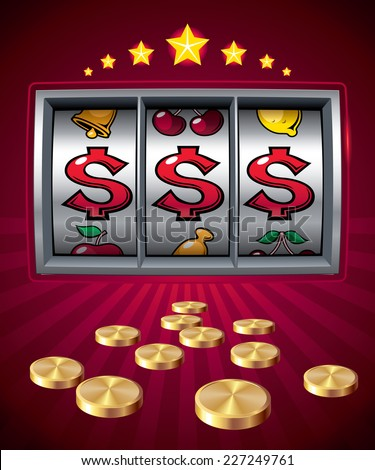 Slot machine with dollar signs. Eps8. CMYK. Organized by layers. Global colors. Gradients used. - stock vector