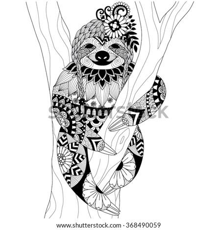 Sloth Zentangle Design Coloring