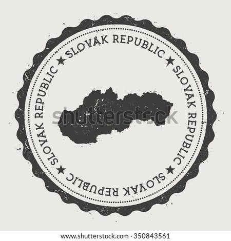 Slovak Republic. Hipster round rubber stamp with Slovakia map. Vintage passport stamp with circular text and stars, vector illustration - stock vector