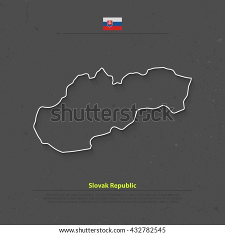 Slovak Republic isolated map and official flag icons. vector Slovak political thin line style map. European country geographic banner template. travel business concept vector maps. Slovakia map icon - stock vector