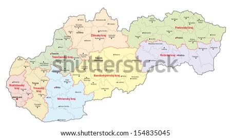 slovakia administrative map - stock vector