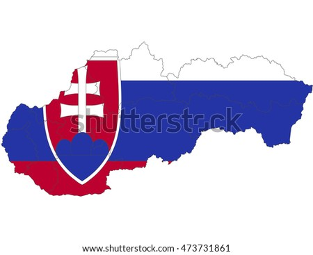 slovakia country flag on white background.