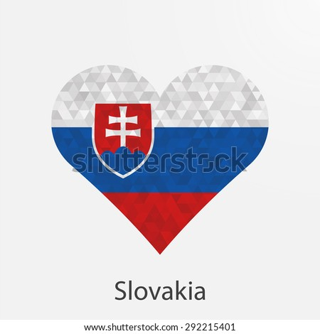 Slovakia flag heart in geometric,mosaic polygonal style.Love to country.Abstract tessellation,background. Vector illustration EPS10