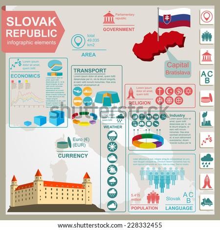 Slovakia infographics, statistical data, sights. Vector illustration - stock vector