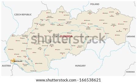 slovakia map - stock vector