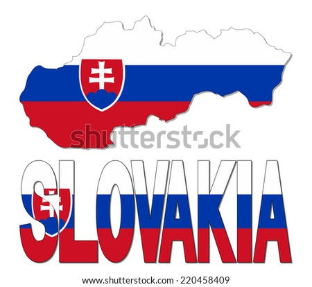 Slovakia map flag and text vector illustration