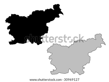 Slovenia map. Black and white. Mercator projection. - stock vector