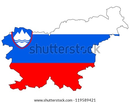 Slovenia vector map with the flag inside. - stock vector