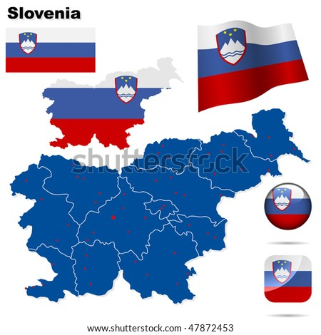 Slovenia  vector set. Detailed country shape with region borders, flags and icons isolated on white background. - stock vector