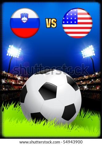 Slovenia versus United States on Soccer Stadium Event Background Original Illustration - stock vector