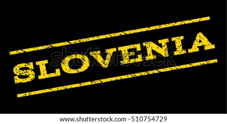 Slovenia watermark stamp. Text tag between parallel lines with grunge design style. Rubber seal stamp with scratched texture. Vector yellow color ink imprint on a blue background.