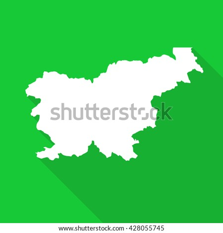 Slovenia white map,border flat simple style with long shadow on green  background