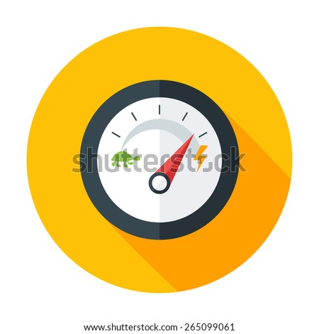 Slow and Fast Speedometer Flat Circle Icon with long Shadow. Flat stylized circle icon - stock vector