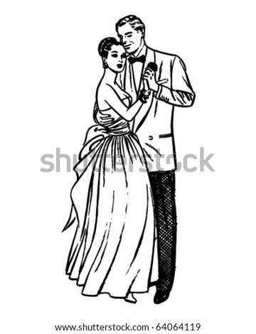 Slow Dance - Retro Clipart Illustration - stock vector