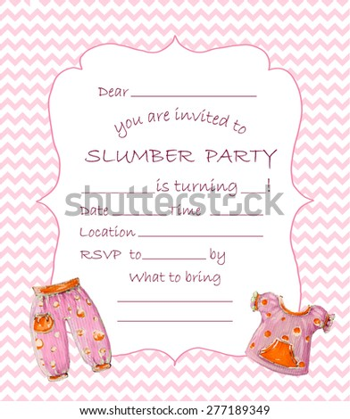 Slumber party invitation.Seamless chevron pattern saved in swatches panel.