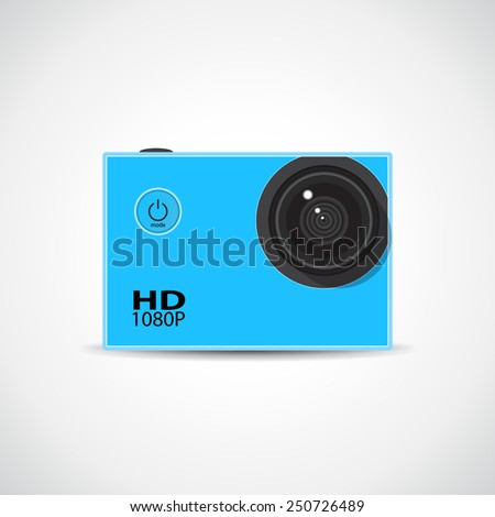 Small action sport HD waterproof camera - stock vector