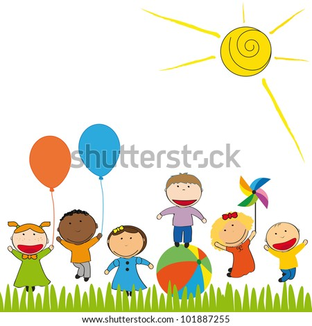 Small and happy kids  in colorful garden - stock vector
