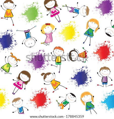 Small and smile cute children on white background - stock vector