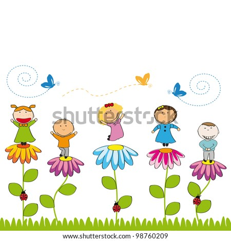 Small and smile kids with flowers in garden - stock vector