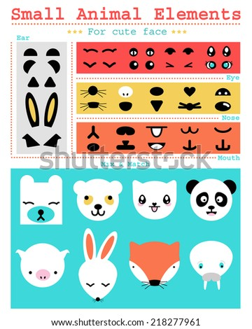 Small animal elements  - stock vector
