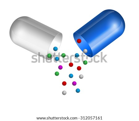 Small balls pouring from an open medical capsule. Vector illustration - stock vector