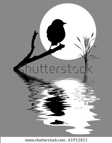 small bird on branch tree amongst water - stock vector