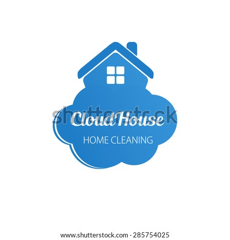 Small blue house on the cloud. Home cleaning or deleivery company business logo. Vector  element,  icon. - stock vector