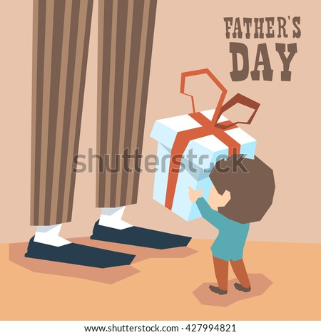 Small Boy Give Present Box Adult Man Long Legs Father Day Holiday Vector Illustration