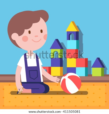 Small boy playing with a ball in a room. Modern flat vector illustration clipart. - stock vector