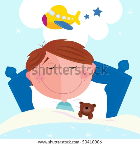 Small boy sleeping in bed and dreaming about airplane. Cute small boy sleeping in bed with teddy bear and dreaming about new toy. Vector cartoon illustration.
