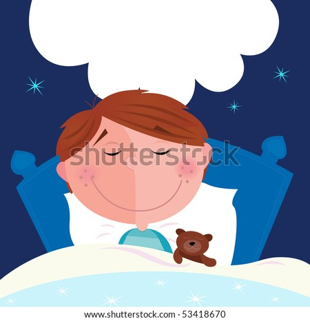 Small boy with his teddy bear sleeping in bed. Cute small boy sleeping and dreaming. Write the dream inside speech bubble! Vector Illustration. - stock vector